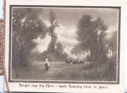 BRIGHT RISE THE MORN....sepia evening rural inset woman faces herd of cows
