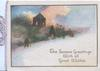 THE SEASONS GREETINGS WITH ALL GOOD WISHES, winter evening scene, man walks to lighted church
