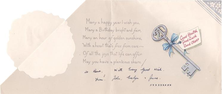 YOU'RE 21 TO-DAY on die-cut floral wreath, foil horseshoe, bluebird of happiness, MANY HAPPY RETURNS OF THE DAY