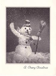 A CHEERY CHRISTMAS glittered snowman with tophat & broom, snow falls
