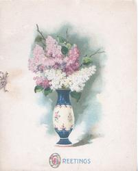 GREETINGS (G illuminated) multicoloured vase of white & purple lilac