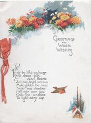 GREETINGS AND WARM WISHES below stylised orange daisies above verse & bird flying to winter cottage
