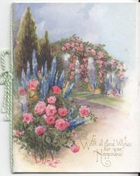 WITH ALL GOOD WISHES FOR YOUR HAPPINESS garden scene, roses and delphiniums