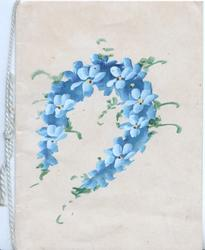 no front title, horseshoe shaped wreath of blue forget-me-nots