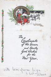 THE COMPLIMENTS OF THE SEASON AND HEARTY GOOD WISHES FOR THE NEW YEARon plaque below gilt horseshoe, coach & horses