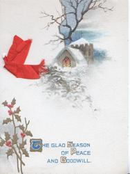 THE GLAD SEASON OF PEACE AND GOODWILL evening winter scene, lighted church, holly below left