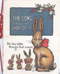 THE LONG AND THE SHORT OF IT on deep blue plaque above one large & 3 small hares sitting up, verse