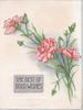 THE BEST OF GOOD WISHES on gilt plaque below pink carnations
