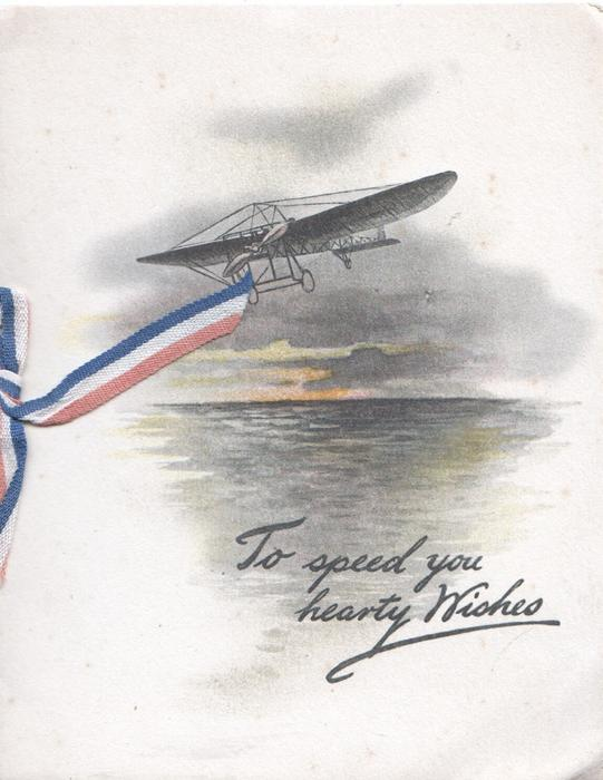 TO SPEED YOU HEARTY WISHES antique airplane flies front over ocean