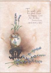 TO WISH ... flying dragon & person decorated vase of lavender on stand, more lavender below