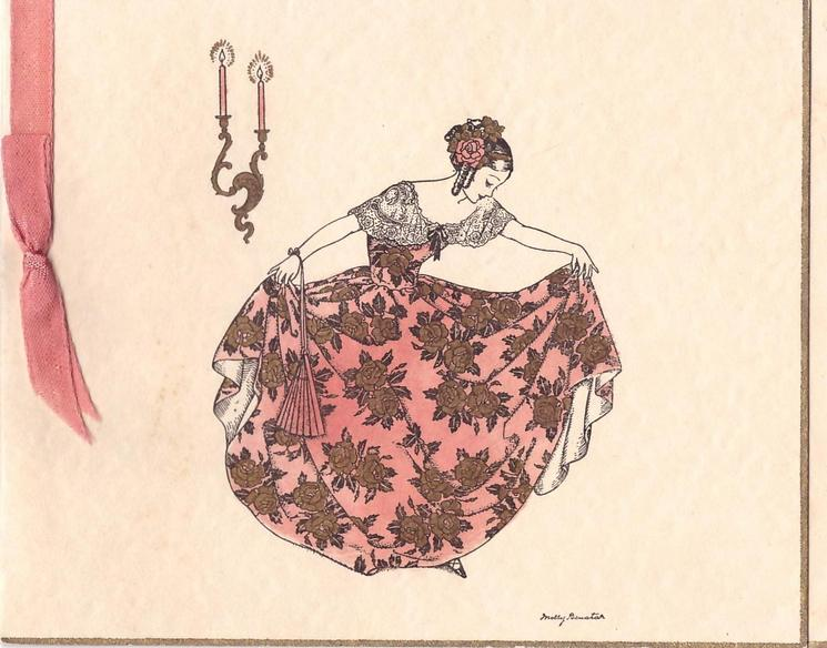 no front title, woman curtsies, wearing elaborate dress with gilt roses, pink ribbon left