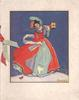 no front title, woman in red overcoat holds lantern against night sky, robin at her feet, pink & green ribbon left