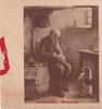 SINCERE WISHES opt. in red, elderly man sits with bowl in hand, dog begs at his feet, sepia