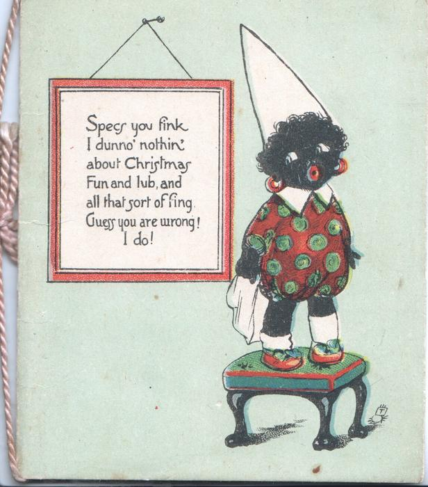 SPECS YOU FINK.....on red bordered  wall plaque, black child stands on stool wearing dunce's hat