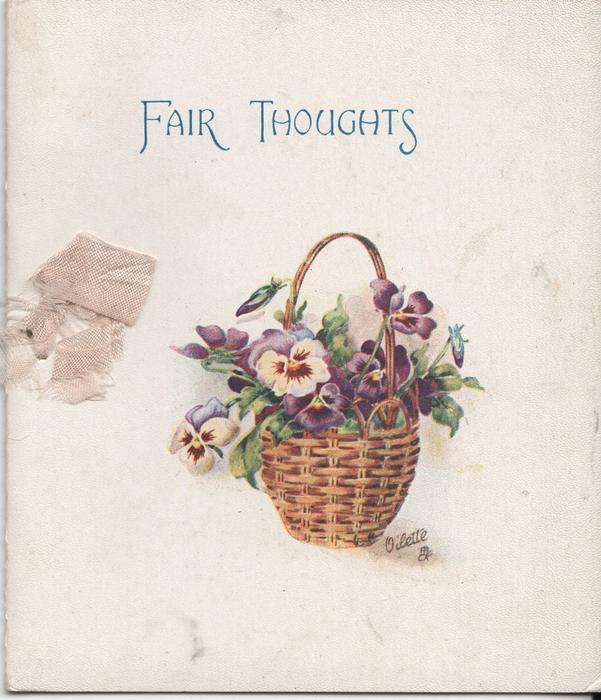 FAIR THOUGHTS above basket of pansies