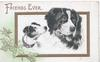 FRIENDS EVER in gilt above gilt bordered inset heads of Terrier & St. Bernard, ivy lower left
