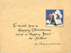TO WISH YOU A HAPPY CHRISTMAS AND A HAPPY NEW YEAR TO FOLLOW small square inset of cottage with prominent red sun