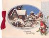 CHEERY GREETINGS snowy residence in ovular inset, robin & holly on panel right