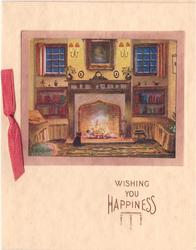 WISHING YOU HAPPINESS oblong cottage view inset, cat sits in front of fireplace