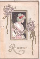 REMEMBRANCE (R illuminated) below wndow cut to show pretty girl on page behind, chain of violets across window