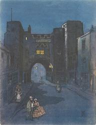 no front title, night scene, couple walks forward on street in front of ST. JOHN'S GATE