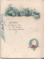 GREETINGS GLADSOME WITH FAIR THOUGHTS AND HAPPY MEMORIES forget-me-nots