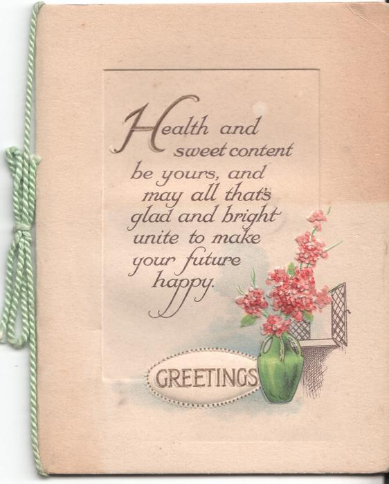 GREETINGS vase of flowers, verse above