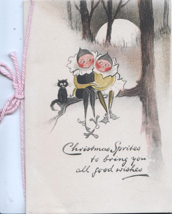CHRISTMAS SPRITES TO BRING YOU ALL GOOD WISHES  holly boy & girl sit hand in hand on tree branch beside cat