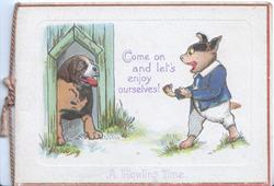 COME ON AND LET'S ENJOY OURSELVES! dressed humanised dog greets another in kennel, A HOWLING TIME below