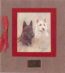 GREETINGS etched on gilt plaque below 2 terriers inset on fuzzy red backing, red ribbon