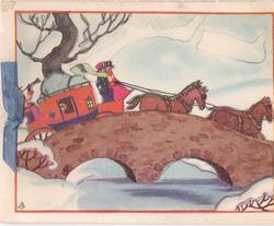 no front title, stage coach rides right over stone bridge, snow on ground, blue ribbon