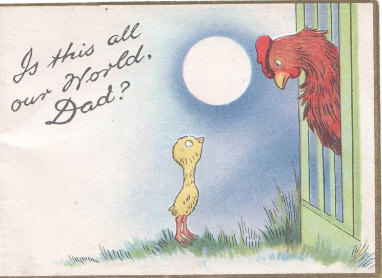 IS THIS ALL OUR WORLD, DAD? chick addressing cock behind bars, sun above