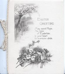 EASTER GREETING MAY SWEET HOPE....black & white rural scenes, blossom tree left, bird & wild roses below