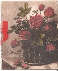 MANY HAPPY RETURNS OF THE DAY in gilt, red roses
