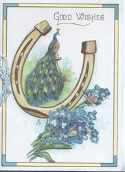 GOOD WISHES in gilt above peacock framed by horseshoe above forget-me-nots
