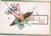 GOOD LUCK(G &L illuminated), hand of cards, smoking cigar, ivy