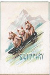 SLIPPERY  in blue & white, 3 piglets toboggon in an old shoe