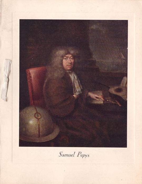 SAMUEL PEPYS portrait, facing right & looking forward, sitting at desk with hand on table