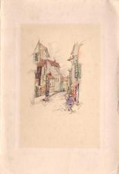 no front title, lightly coloured sketch of buildings along cobble stone street, scattered pedestrians