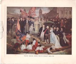 PRINCESS CAROLINE LANDING FROM THE ADMIRALTY BARGE, 1795, white ribbon left