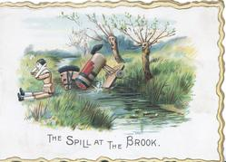 THE SPILL AT THE BROOK personised wooden horse falls throwing stick rider, observed by personised willow trees