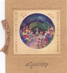 GREETINGS below circular inset of floral garden & fountain with cross hatch design overtop, tan card stock