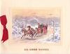 ALL GOOD WISHES stagecoach rides left in winter, yellow sky with clouds, signpost, red ribbon