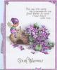 GOOD WISHES below imp sitting on basket beside many violets, verse above