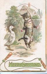 MERRY GREETINGS in gilt on green plaque, cat uses skipping rope, duck admires, watery rural background