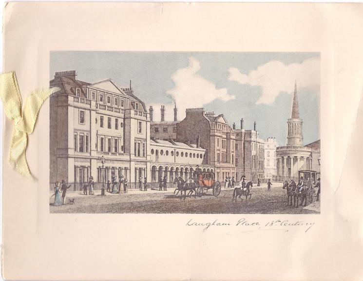 LANGHAM PLACE, 18TH CENTURY  horse-drawn carriages, old-style dress, church right, cream ribbon
