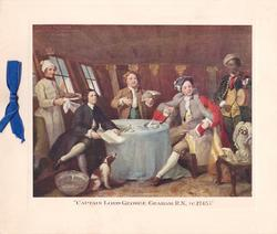 CAPTAIN LORD GEORGE GRAHAM, R.N. (c.1745) with chaplain, clerk, servants & dogs, blue ribbon left