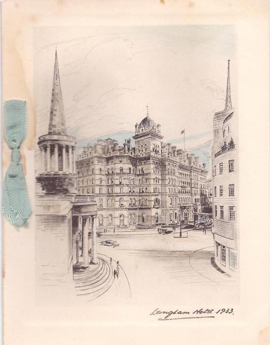 LANGHAM HOTEL, 1933  view from road, church left, light blue ribbon