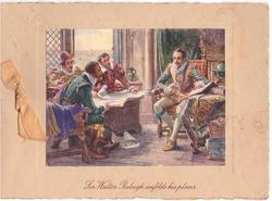 SIR WALTER RALEIGH UNFOLDS HIS PLANS, light orange ribbon left