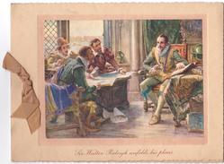 SIR WALTER RALEIGH UNFOLDS HIS PLANS, light brown ribbon left